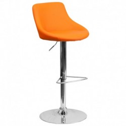MFO Contemporary Orange Vinyl Bucket Seat Adjustable Height Bar Stool with Chrome Base