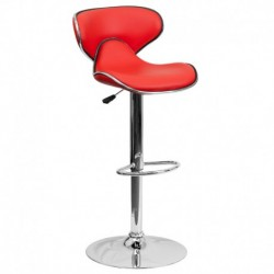 MFO Contemporary Cozy Mid-Back Red Vinyl Adjustable Height Bar Stool with Chrome Base