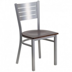 MFO Silver Slat Back Metal Restaurant Chair - Walnut Wood Seat