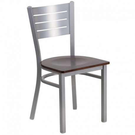 MFO Silver Slat Back Metal Restaurant Chair - Walnut Wood Seat