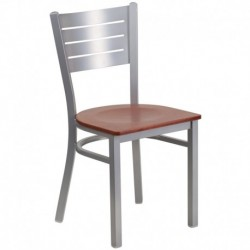 MFO Silver Slat Back Metal Restaurant Chair - Cherry Wood Seat