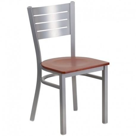 MFO Silver Slat Back Metal Restaurant Chair - Cherry Wood Seat