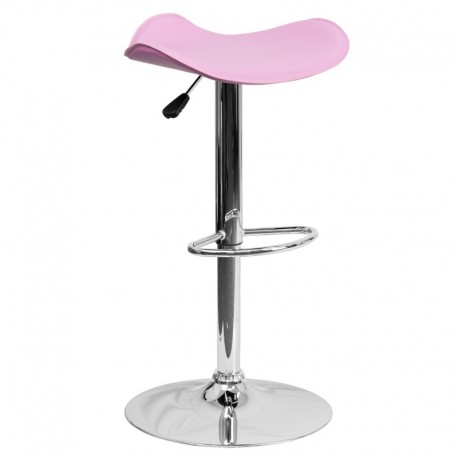MFO Contemporary Pink Vinyl Adjustable Height Bar Stool with Chrome Base