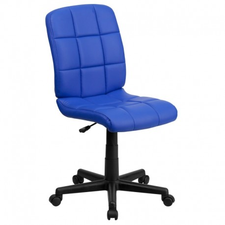 MFO Mid-Back Blue Quilted Vinyl Task Chair