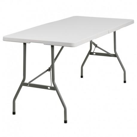 MFO 30''W x 60''L Bi-Fold Granite White Plastic Folding Table