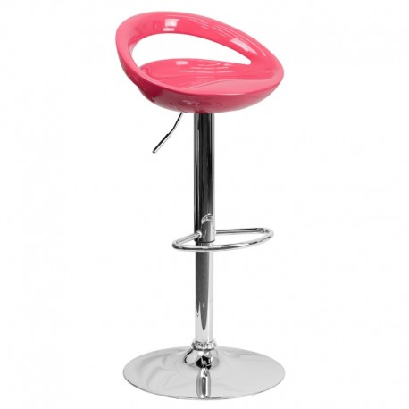MFO Contemporary Pink Plastic Adjustable Height Bar Stool with Chrome Base