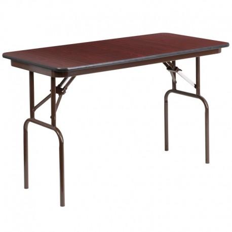 MFO 24'' x 48'' Rectangular Walnut Melamine Laminate Folding Banquet Table