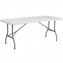 MFO 30''W x 72''L Bi-Fold Granite White Plastic Folding Table