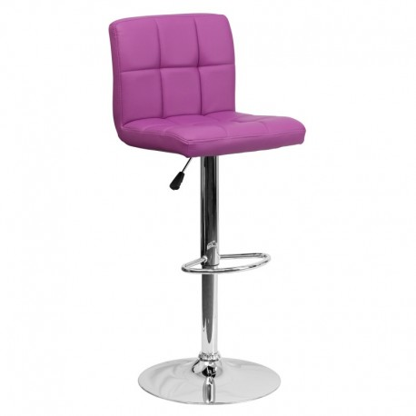 MFO Contemporary Purple Quilted Vinyl Adjustable Height Bar Stool with Chrome Base