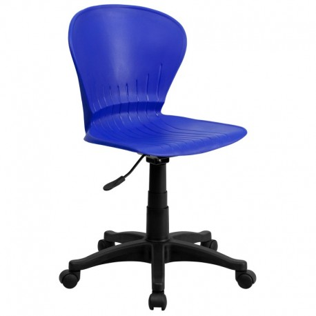 MFO Mid-Back Blue Plastic Swivel Task Chair