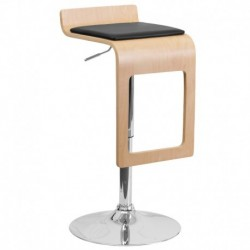 MFO Beech Bentwood Adjustable Height Bar Stool with Black Vinyl Seat and Drop Frame