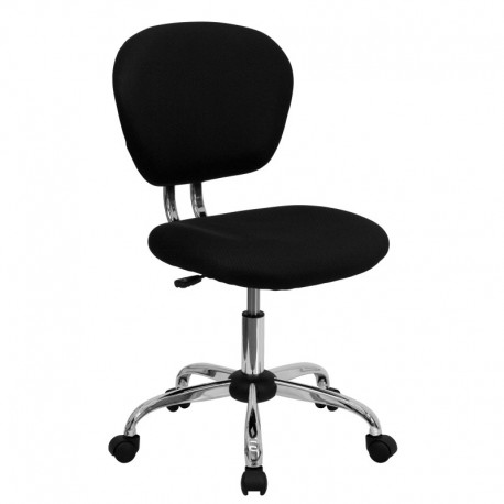 MFO Mid-Back Black Mesh Task Chair with Chrome Base