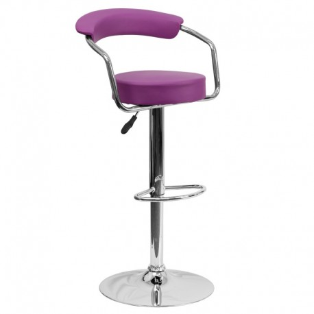 MFO Contemporary Purple Vinyl Adjustable Height Bar Stool with Arms and Chrome Base