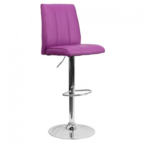 MFO Contemporary Purple Vinyl Adjustable Height Bar Stool with Chrome Base