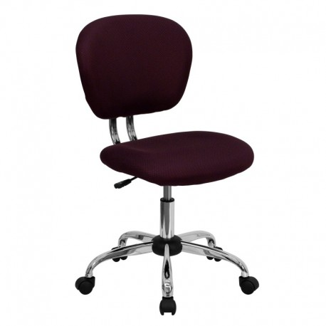 MFO Mid-Back Burgundy Mesh Task Chair with Chrome Base