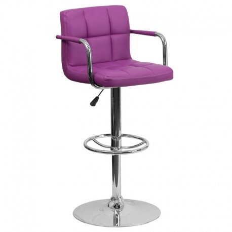 MFO Contemporary Purple Quilted Vinyl Adjustable Height Bar Stool with Arms and Chrome Base