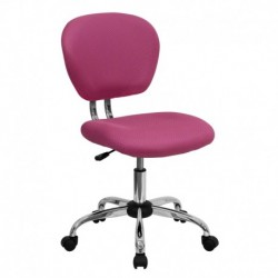 MFO Mid-Back Pink Mesh Task Chair with Chrome Base