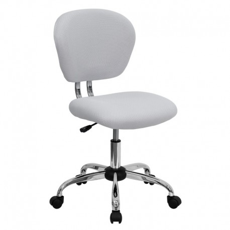 MFO Mid-Back White Mesh Task Chair with Chrome Base