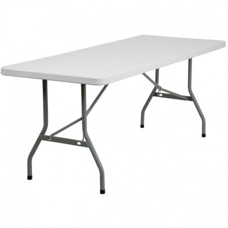 MFO 30''W x 72''L Granite White Plastic Folding Table