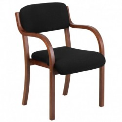 MFO Contemporary Black Fabric Wood Side Chair with Walnut Frame
