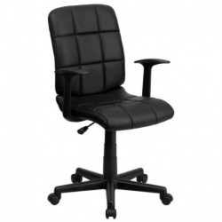 MFO Mid-Back Black Quilted Vinyl Task Chair with Nylon Arms
