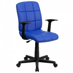 MFO Mid-Back Blue Quilted Vinyl Task Chair with Nylon Arms