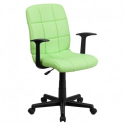 MFO Mid-Back Green Quilted Vinyl Task Chair with Nylon Arms