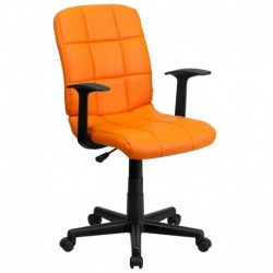 MFO Mid-Back Orange Quilted Vinyl Task Chair with Nylon Arms