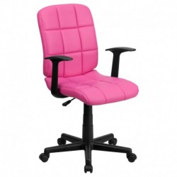 MFO Mid-Back Pink Quilted Vinyl Task Chair with Nylon Arms