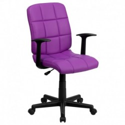 MFO Mid-Back Purple Quilted Vinyl Task Chair with Nylon Arms