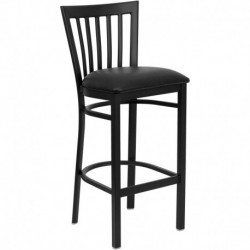 MFO Black School House Back Metal Restaurant Bar Stool - Black Vinyl Seat