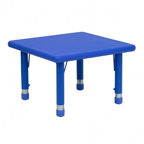 MFO 24'' Square Height Adjustable Blue Plastic Activity Table