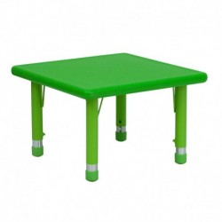 MFO 24'' Square Height Adjustable Green Plastic Activity Table