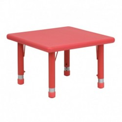 MFO 24'' Square Height Adjustable Red Plastic Activity Table