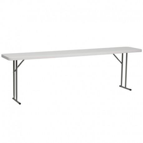 MFO 18''W x 96''L Granite White Plastic Folding Training Table