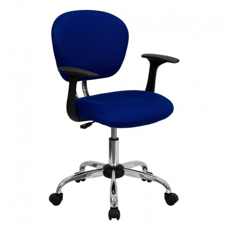 MFO Mid-Back Blue Mesh Task Chair with Arms and Chrome Base
