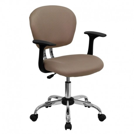 MFO Mid-Back Coffee Brown Mesh Task Chair with Arms and Chrome Base