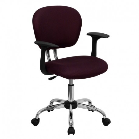 MFO Mid-Back Burgundy Mesh Task Chair with Arms and Chrome Base
