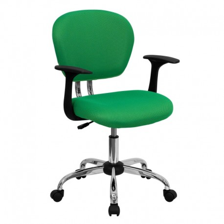 MFO Mid-Back Bright Green Mesh Task Chair with Arms and Chrome Base