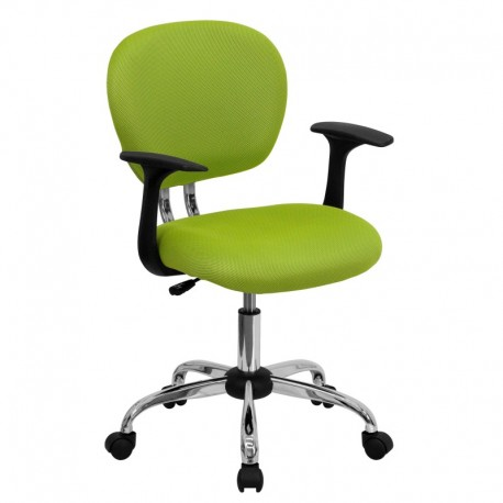 MFO Mid-Back Apple Green Mesh Task Chair with Arms and Chrome Base