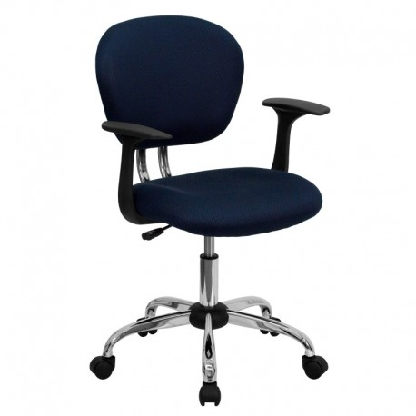 MFO Mid-Back Navy Mesh Task Chair with Arms and Chrome Base