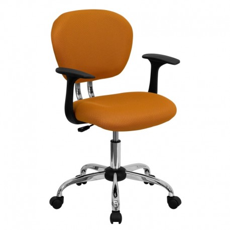 MFO Mid-Back Orange Mesh Task Chair with Arms and Chrome Base
