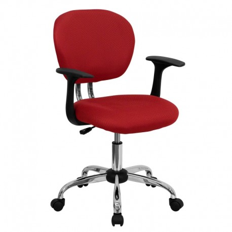 MFO Mid-Back Red Mesh Task Chair with Arms and Chrome Base