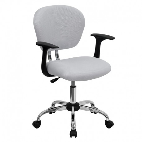 MFO Mid-Back White Mesh Task Chair with Arms and Chrome Base