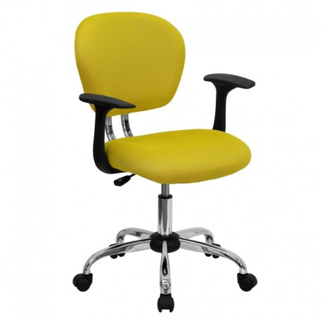 MFO Mid-Back Yellow Mesh Task Chair with Arms and Chrome Base