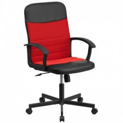 MFO Mid-Back Black Vinyl Task Chair with Red Mesh Inserts