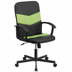 MFO Mid-Back Black Vinyl Task Chair with Green Mesh Inserts