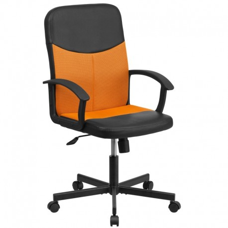 MFO Mid-Back Black Vinyl Task Chair with Orange Mesh Inserts