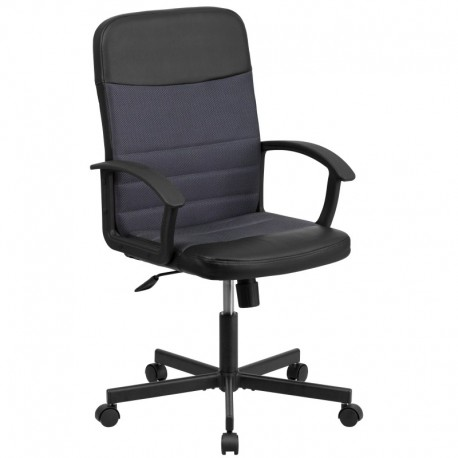MFO Mid-Back Black Vinyl Task Chair with Dark Gray Mesh Inserts