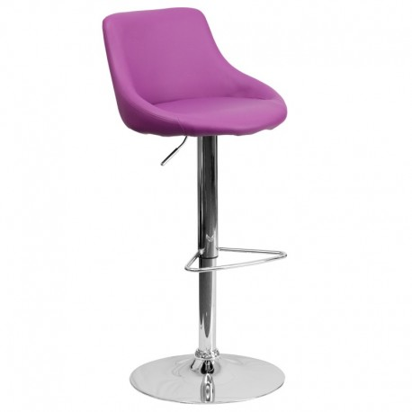 MFO Contemporary Purple Vinyl Bucket Seat Adjustable Height Bar Stool with Chrome Base